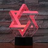 Shuyinju Creative 7 Couleurs Dégradés Atmosphère Visual 3D Israël Géométrie Hexagone Led Veilleuse Usb Lampe De Table Chevet Décor À La Maison...