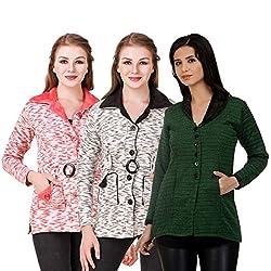 Kritika World Womens Wool Cardigan Dress (COAT_VLVT_PEACH_BLACK_OCOT_GRN_Peach Black Green_Medium)