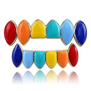 BEAUTOP Mehrfarbige Zahngrill, Hüft-Zähne, Grillz-Kappen (obere kleinere Unterseite, Zahngitter, 1 Set für Männer/Frauen)