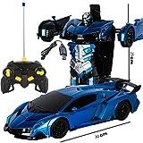 LYN Bumblebee Rambo Voiture télécommandée en 1 clic Déformation Télécommande Robot de déformation Robot King Kong Geste Induction Déformation Voiture Jouet (Color : Dark Blue)