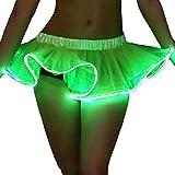 Lonshell_Damen Kleid LED Vestido Mujer Midi Vestido Party Rock Jugar Mujeres LED Luz Vestido Tutu Rock, Mujer, Verde