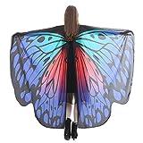 WOZOW Damen Schmetterling Schmetterlingsflügel Kostüm Faschingkostüme Schal Tuch Poncho Umhang für Party Cosplay Karneval Fasching (Dunkelblau 1)