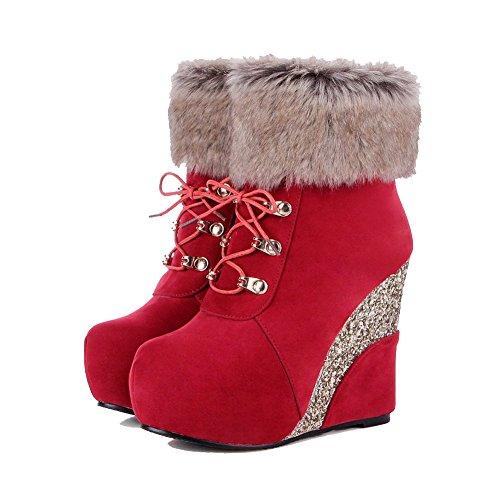 VogueZone009 Damen Reißverschluss Hoher Absatz Rund Zehe Stiefel mit Metallisch Rot
