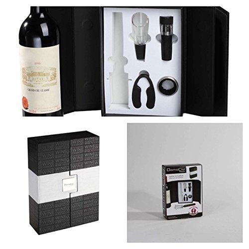 Hochwertiges Wein-Set 5-tlg. im Koffer (Sommelier-Set, Weinzubehör, Wein-Ausgießer, Luftdruck-Korkenzieher, Kapselschneider, Vakkumierer, Wein-Geschenk-Set)