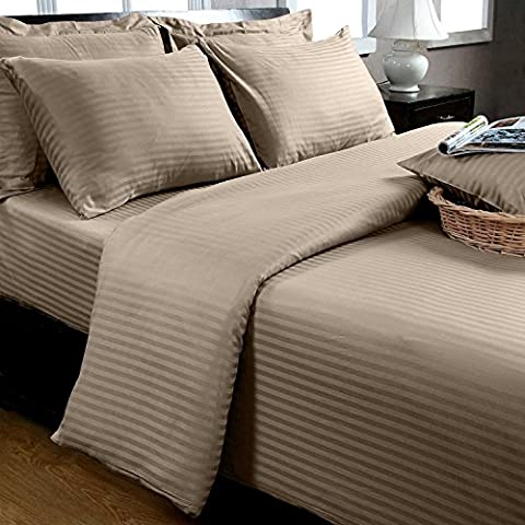 Homescapes Single Taupe Beige Egyptian Cotton Duvet Cover Set Satin Stripe 330 Thread Count with 100% Cotton Pillowcase Included