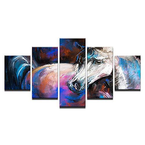 HXZFF Quadro su Tela Pittura a Olio, Cavallo Bianco, Animale 150 x 80 cm Stampa su Tela in TNT XXL Immagini Moderni Murale Fotografia Grafica Decorazione da Parete 5 Pezzi Nessuna Co