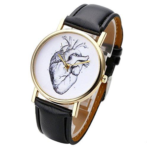 JSDDE Uhren,Vintage Damen Armbanduhr Skizze Organ Herz Zifferblatt Armbanduhr Leder Armband Analog Quarz Uhr,Schwarz - 2