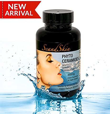 Phytoceramides, Includes Skin Care Ebook - 350 Milligram, 30 Veggie Capsules with advanced Ceramides Formulation, Deep Skin Moisturizing, Plant Derived, GMO and Gluten Free - USA