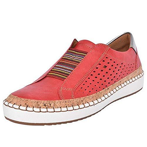 Shujin Damen Slip On Sneaker Atmungsaktive Hollow Out Lederschuhe Platform Flache Schuhe Slipper Low-top Rutschfeste Loafer Schuhe Lässig Elegant Laufschuhe Freizeitschuhe -