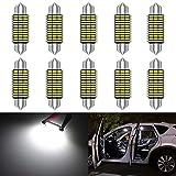 KaTur 41mm 42mm Girlandenlampen 6000K Weißlicht Extrem helle Chipsätze Canbus fehlerfrei für 211-2 212-2 214-2 2112 2122 569 578 Innen-Dome-Kennzeichen-Türbeleuchtung (10 Stück, Weiß)