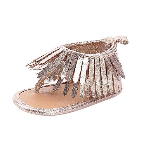 Preisvergleich Produktbild Vovotrade Baby Säuglingsmädchen Jungen weiche alleinige Krippe Kleinkind Troddel Sandelholz Schuhe (11.8CM, Gold)