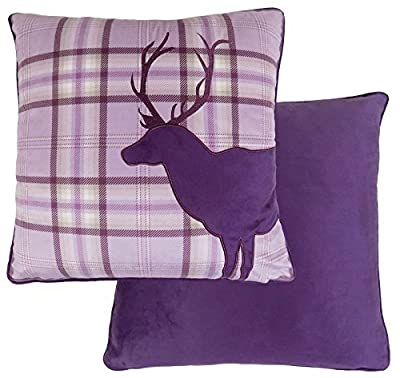"Reindeer Stag Tartan Check Plaid Heather Purple Velvet Embroidered Cushion Cover 17"" - 43cm produced by CUSHIONS UNIQUE - quick delivery from UK."