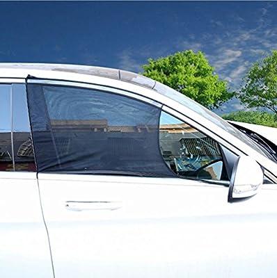Brinny 2PCS Pare-soleils Fenetre avant de voiture Parasol pour vitre latérale film solaire voiture Rideaux pour auto protection UV - Noir
