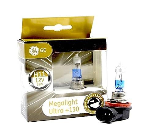 Lot de deux ampoules halogènes de marque GE general electric modèle H11 megalight Ultra qui éclairent jusqu'à 130% plus qu'une ampoule classique
