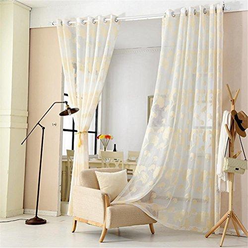 Preisvergleich Produktbild GUOCAIRONG® Tulle Vorhänge Blumenstickerei Tüll Vorhänge für Wohnzimmer Sheer Volie Fenster Vorhang Vorhänge 1 Stück , gold , 3*2.7m