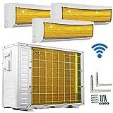 A++/A++/A++ TrioSplit WiFi/WLAN Golden-Fin 12000+12000+12000 BTU MultiSplit Klimaanlage INVERTER Klimagerät und Heizung