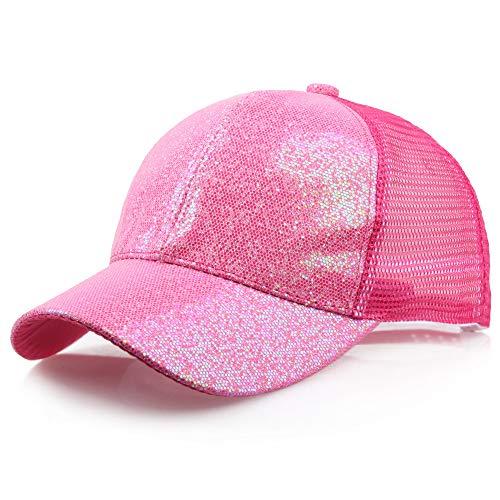 VRTUR Pailletten Hut Glitzer Kappe Sylvester Karneval Party Mehrere Farben Sommerhut Baseballcap(Large,Pink)