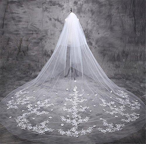 �e Braut Hochzeit Braut Kathedrale Schleier Mantilla Spitze Edge Mode (1950er Haar)