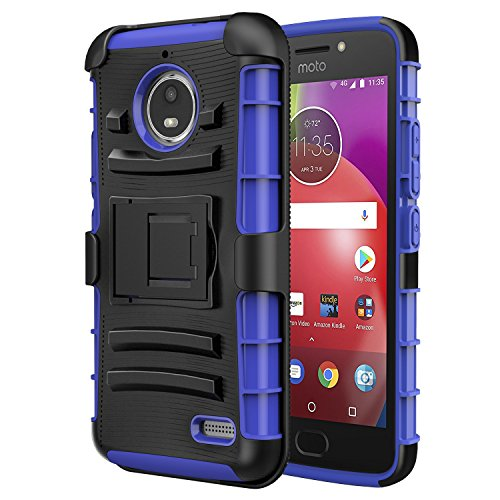 MoKo Moto E4 Hülle - [Heavy Duty Serie] Outdoor Dual Layer Armor Case Handy Schutzhülle Schale mit Gürtelclip & Standfunktion für Motorola Moto E4 (2017) Smartphone, Blau