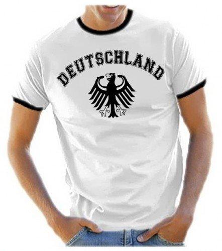 Coole-Fun-T-Shirts Herren T-Shirt Deutschland Adler Ringer, Weiß, L, 10880 (Usa Sport-fußball-t-shirt)
