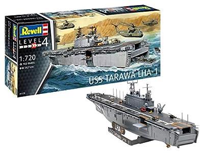 Revell Bateau Porte hélicoptère USS Tarawa LHA-1-échelle 1/720-niveau 4/5 Maquette, 05170, Non laqué