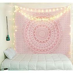 tapiz para colgar en la pared de mandalas rosa