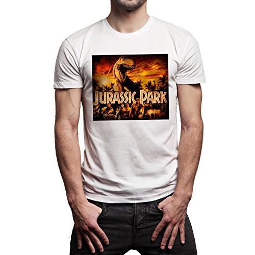 Jurassic-Park-Red-Fire-Background.jpg Herren T-Shirt Weiß