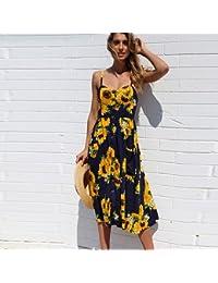 8740f6e03 ASGHILL Boho Summer Dress Mujeres Nuevo estilo de la impresión floral Fit  And Elegant Party Dress