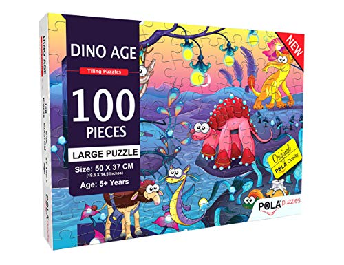 Pola Puzzles Dino World 100 Tiling Puzzles 100 Pieces Jigsaw Puzzles for Kids Age 5 Years and Above Multi Color Size 19.6 inch X 14.5 Inch Jigsaw Puzzles for Kids