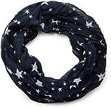 styleBREAKER seidiger Sterne Muster Loop Schlauchschal, Crash and Crinkle, Unisex 01016093, Farbe:Dunkelblau-Weiß