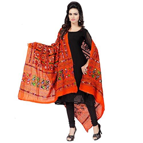 Banjara Women'S Cotton Stoles & Dupattas Kutchi Bharchak (Vip11 _Tangy Orange _Handicraft...