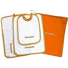 Crociedelizie, Set asilo 4 pezzi tovaglietta bavaglino sacca asciugamano salvietta ricamo nome bimbo personalizzato