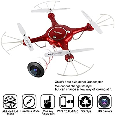 Mattheytoys Syma X5UW Drone FPV en tiempo real Wifi HD cámara de vuelo de vía de alta Función Hold RC Quadcopter RTF