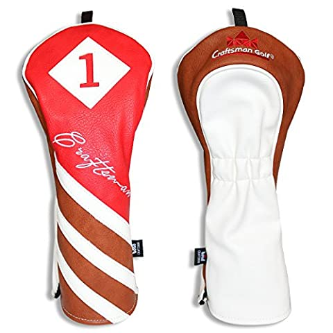 CRAFTSMAN GOLF Red Brown White Pu Leather Driver/Fairway Wood/Hybrid Headcover
