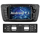 YINUO 7 Pulgadas 2 Din Android 7.1.1 Nougat 2GB RAM Quad Core Pantalla Táctil Estéreo Reproductor De DVD GPS Navegador Multimedia Radio De Coche HD 1024*600 Para SEAT IBIZA 2009-2013 Soporte DAB/ Control Del Volante Bluetooth/ AV-IN/ 1080p (Con Cámara Trasera 4)