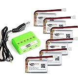 Keenstone Syma x5c batería 6 Piezas 3.7V 720mAh 20C Litio batería + 1PCS Cagador con 6 Puerta para Syma X5C X5C-1 X5SC X5SC-1 X5SW, Cheerson CX-30W UDI U45 RC Drone Quadcopter