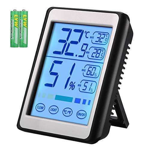 Brifit Digitales Thermo-Hygrometer Innen, Thermometer Hygrometer, Touch LCD-Hintergrundbeleuchtung Raumthermometer, Temperatur und Luftfeuchtigkeitsmesser mit MIN/MAX Aufzeichnungen, °C/°F Schalter