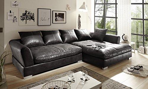 BIG Sofa Vintage Schwarz Grau - Rechts - Sondermaße möglich