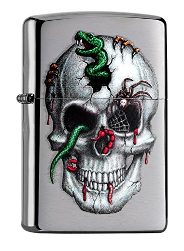 Zippo PL Skull with Snake, Worms, Spiders and More 60000994 Feuerzeug, Messing, Edelstahl, 1 x 3,5 x 5,5 cm