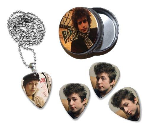 Bob Dylan Collection With 3 Double Sided Loose Gitarre Plektrum Plektron Picks & Kette in Tin (Bob Dylan-gitarre Picks)