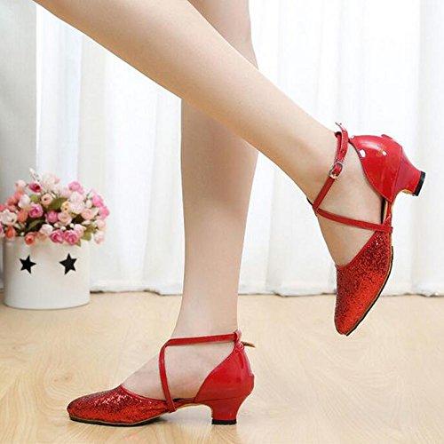 Eastlion Ballsaal Sequins Salsa Tango Schuhe Latin Dance Schuhe Stiletto Dance für Frauen Praxis Rot Mit Gummisohle