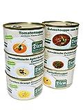 Diem Suppe Paket, Probierpaket - Lieblingssuppe - Apfel Sellerie Suppe, Zwiebelsuppe, Kartoffelsuppe, Karotten Orangen Suppe, Tomatencremesuppe, Gulaschsuppe 6 x 400g Konserve