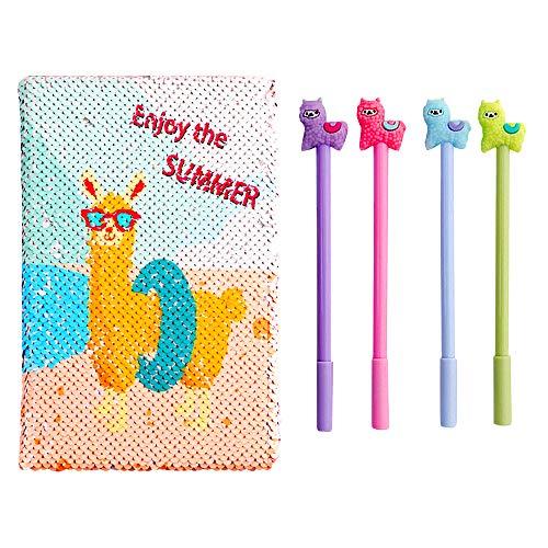 QearFun Unicorn Notebook A5 e penna Set per bambini, Flippy Sequin Journal Diario per ragazza Travelers Writing Cancelleria Forniture per studenti con un Sequin Unicorn regalo portachiavi (Alpaca)