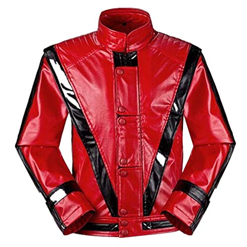 Shuanghao Michael Jackson Jacken MJ Cosplay Custome Thriller Beat it Halloween Party Coat (Handschuh geben) (S:Gewicht42-55kg, Thriller)