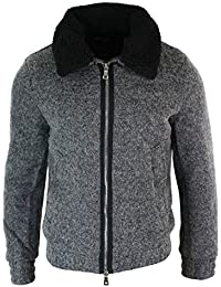 Mens Wool Fur Collar Grey Retro Bomber Jacket Zipped Smart Casual Tweed  Fitted 4f561cad68