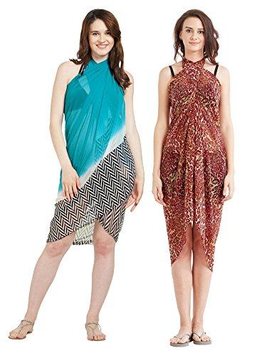 Frauen Faux Georgette Beach Wear Wrap Combo von 2 Sarong Animal Print & Geometrische Gedruckte Pareo Badeanzug Vertuschen (S136_Rot & türkis) Animal Print Faux Wrap