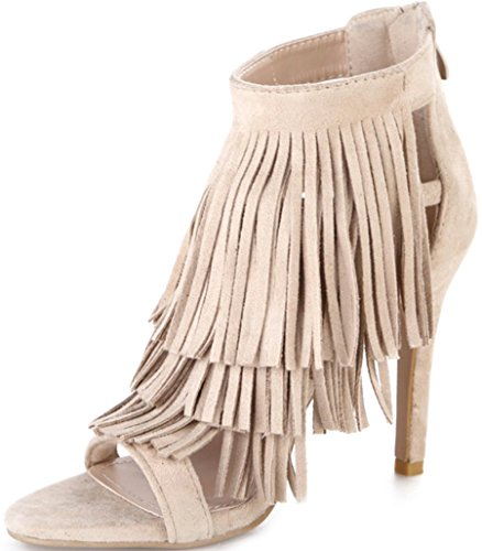 by WELOVEFITS Party Sandaletten Fransen Beige Bequeme Riemchen Stilettos Pumps 39 Velour (Pumps Leder Chloe)