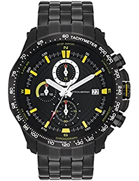 Stahlbergh Svendborg Herren-Uhr Chronograph 5 ATM schwarz / gelb Edelstahl-Armband schwarz 10060111