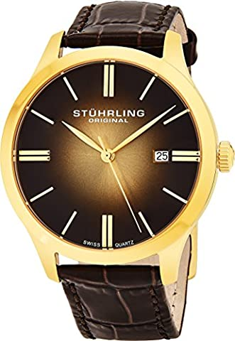 Stuhrling Original Men's Quartz Watch with Brown Dial Analogue Display and Brown Leather Strap