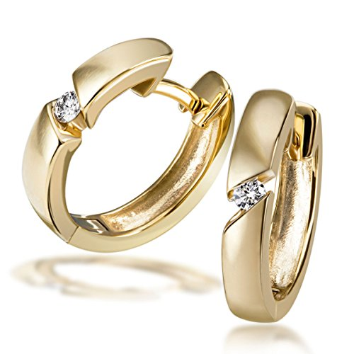 Goldmaid-Creolen 585 Gelbgold 2 Diamanten 0,07 ct.